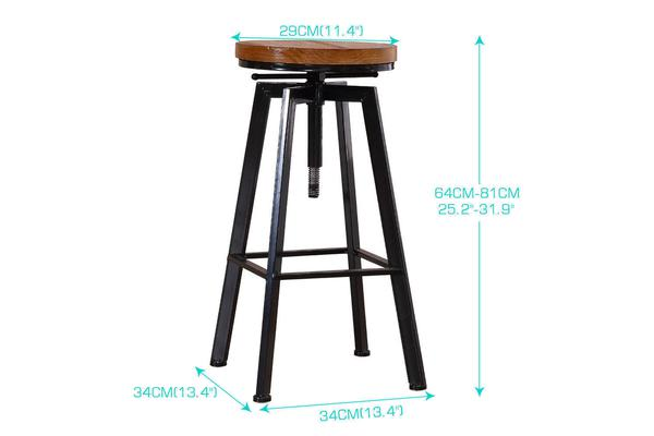 4X Vintage Retro Industrial Swivel Bar Stool