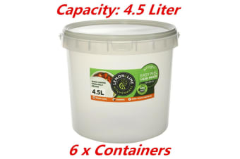 6 x 4.5L Kitchen Food Storage Pail Containers With Lids Airtight Pantry Bucket Tub