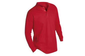 SOLS Mens Winter II Long Sleeve Pique Cotton Polo Shirt (Red) (L)