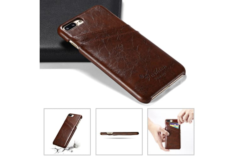 For iPhone 8 PLUS 7 PLUS Case Elegant Deluxe Leather Protective Cover Brown