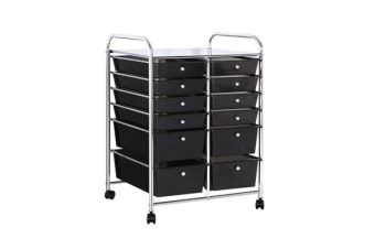 12 Drawer Kitchen Trolley Portable Rolling Cart Storage Shelves Rack Office BK
