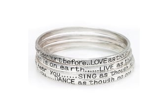 Meaningful Inspirational Word Quote Womens Fashion Bangles - Set of Four