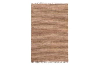 Bondi Leather and Jute Rug Brown 270x180cm