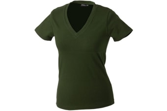 James and Nicholson Womens/Ladies V-Neck Tee (Olive Green) (M)