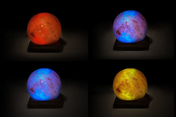 Colour Changing USB Himalayan Salt Lamp with Square Base - Sphere (8cm)
