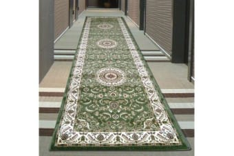 Medallion Runner Green with Ivory Border 300x80cm