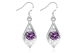 25 Silver Plated Stud Dangle Earings Eardrop Shell With Purple Zircon G00155