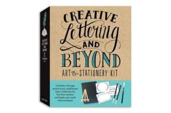 Creative Lettering and Beyond Art & Stationery Kit - Includes a 40-page project book, chalkboard, easel, chalk pencils, fine-line marker, and blank note cards with envelopes