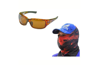 Mustad Hank Parker 102A Polarized Fishing Sunglasses with Venom Head Scarf [Colour: Amber Lens]