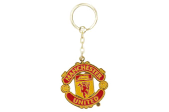 Manchester United FC Official Metal Football Crest Keyring (Red)