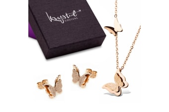 Butterfly Aura Necklace And Earrings Set-Rose Gold