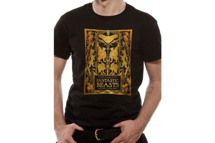 Fantastic Beasts And Where To Find Them Unisex Adults Metallic Book Cover T-Shirt (Black) (XL)