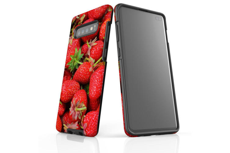 For Samsung Galaxy S10+ Plus Case  Armour Tough Cover  Strawberries