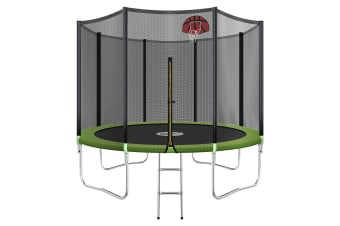 Genki 10ft Round Outdoor Trampoline Set with Safety Enclosure & Basketball Hoop Set & Ladder 150KG