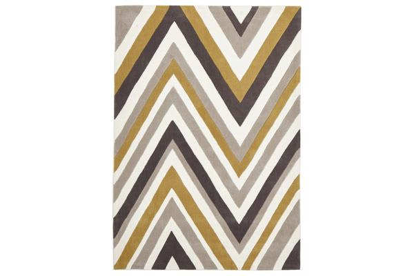 Multi Chevron Rug Yellow Brown 165x115cm