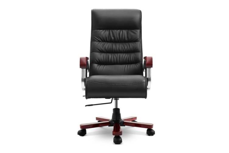 Executive PU Leather Wood Office Chair Computer High Back Seat Recliner