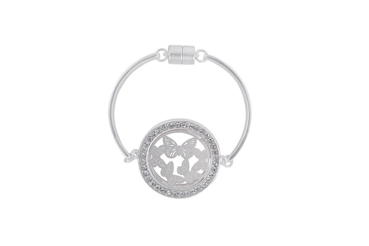 Fable Womens/Ladies Butterfly Cutwork Disc Bracelet (Silver) (One Size)