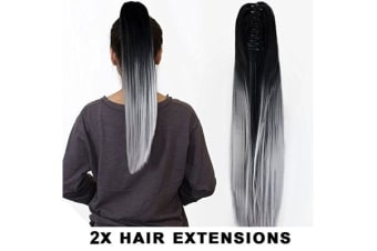 "2Pcs Two Tone Ombre High Grade Silver Gray Straight Clip On Pony Tail 24"" Hair Clamp11 2X"