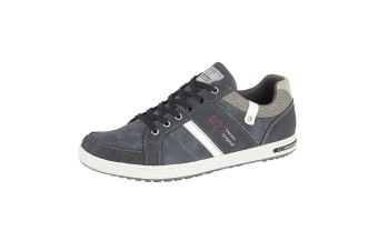 Route 21 Mens Denim Original Lace Up Casual Trainers (Navy)