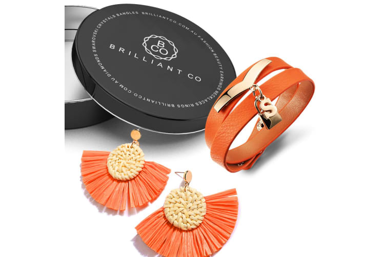 Boxed Brown Leather Wrap Bracelet and Fan Raffia Earrings Set