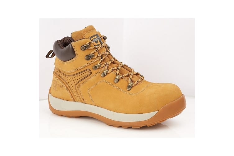 Grafters Mens Leather/Nubuck Safety Ankle Boot (Honey Nubuck) (13 UK)