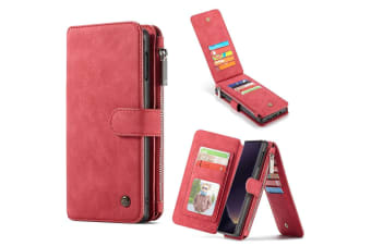 For Samsung Galaxy S10e Case Red Leather Wallet Detachable Cover 14 Card Slots