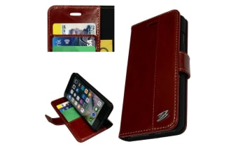 For iPhone 8 7 Wallet Case Fierre Shann Genuine Cowhide Leather Cover Red