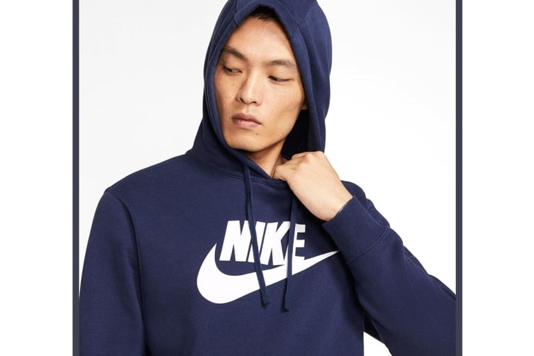 Nike Men's Sportswear Club PO BB GX Hoodies (Blue/White, Size M)