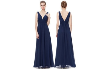 Double V Neck Elegant Long Bridesmaid Dress Chiffon Wedding Evening Dress Navy L