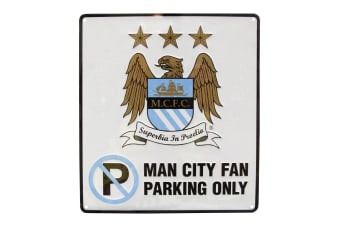 Manchester City FC Official No Parking Metal Sign (White)