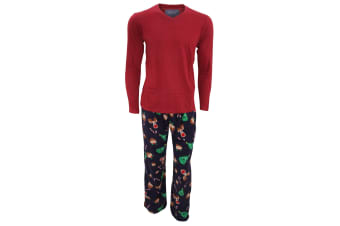 Foxbury Mens Plain Long Sleeve Top & Christmas Patterned Fleece Bottoms Pyjamas/Nightwear Set (Burgundy/Navy)