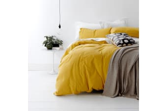 SINGLE DOUBLE QUEEN KING SUPER KING Quilt Covers Set 100% Cotton Doona 3 PCS - King - Misted Yellow
