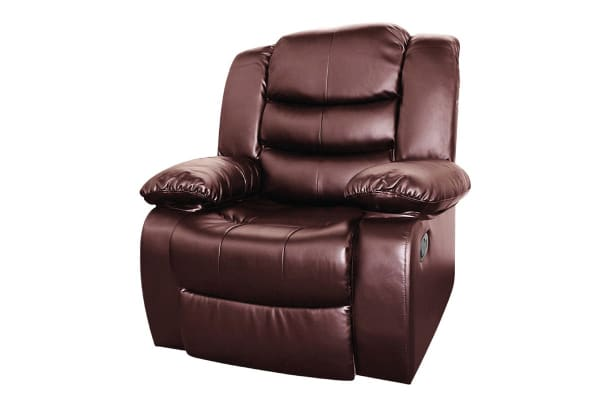 Bonded Leather Dream 1 Seater Recliner Couch (Brown)