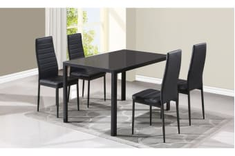 Modern Room Kitchen Glass Dining Table Set with 4 PU Leather Chairs