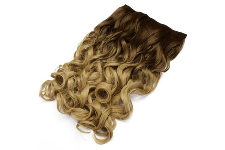 """Two Tone Ombre High Grade Brown Curly Hair 7Piece 16Clips 24"""" Hair Extension 01"""