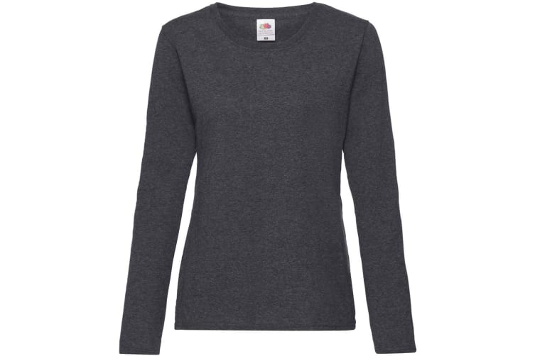 Fruit Of The Loom Ladies Lady-Fit Valueweight Long Sleeve T-Shirt (Dark Heather) (L)