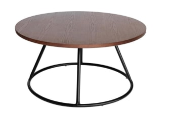 Soho Round Wood Coffee Table | Black & Walnut