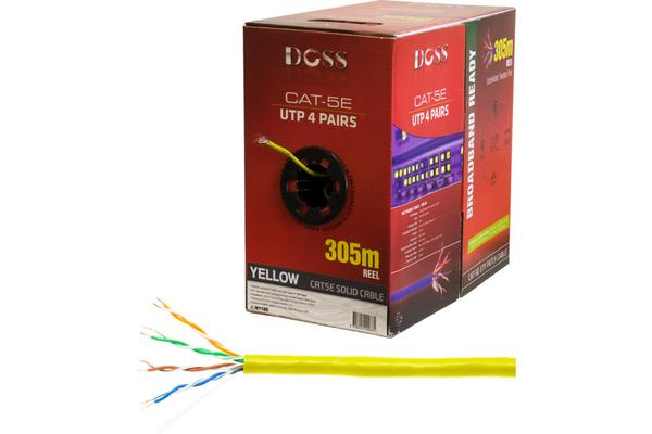 Doss 305M Cat5E Solid Cable Yellow