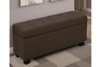 Large Ottoman Linen Fabric Storage Box Footstool Chest - Brown