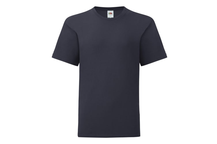 Fruit Of The Loom Childrens/Kids Iconic T-Shirt (Deep Navy) (7-8 Years)