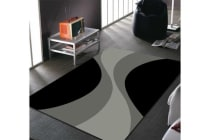 Funky Retro Pattern Rug Black Charcoal Grey
