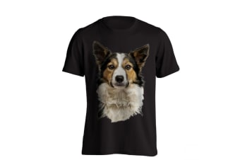 The T-Shirt Factory Mens Border Collie Dog T-Shirt (Black) (XXL)