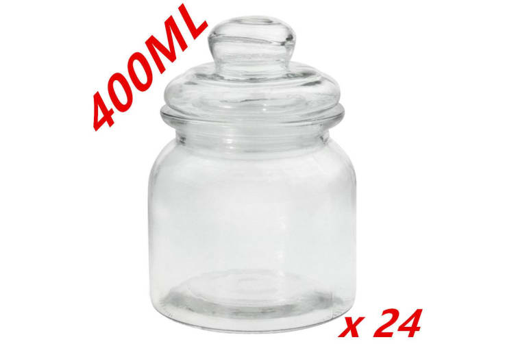 24 x Clear 400ml Glass Jars Multi-purpose Storage Jar Glass with Lid Candle Candy
