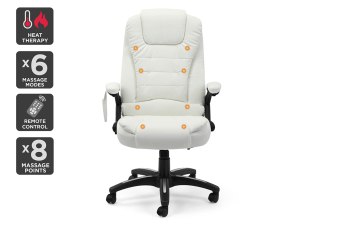Ergolux Saratoga 8 Point Heated Vibrating Massage White Office Chair