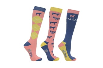 HyFASHION Adults Newmarket Horse Print Socks (Pack of 3 Pairs) (Yellow/Coral/Blue)