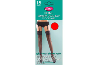 """Silky Womens/Ladies Shine Lace Stockings (1 Pair) (Red) (Medium (5ft-5ft8""""))"""