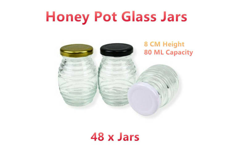 48 x Clear Honey Pot Glass Jar 80ML Food Preserving Storage Container Jam Snack Candy