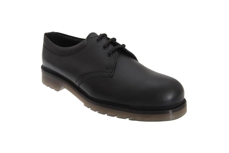 Grafters Mens Uniform Smooth Leather Safety Toe Cap Shoes (Black) (6 UK)