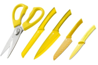 SCANPAN Spectrum Set of 5 Cooks Bread Santoku Utility Shears YELLOW **BNIP*