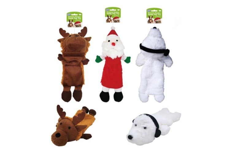 3PC Plush Dog Toys Pet Puppy Chew Toy Gift Set Christmas Xmas Color Themed D4966